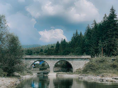 Arched stone bridge over calm river