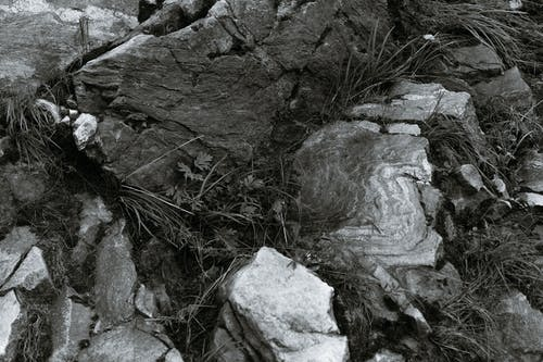 Dry rough rock with grass in daytime