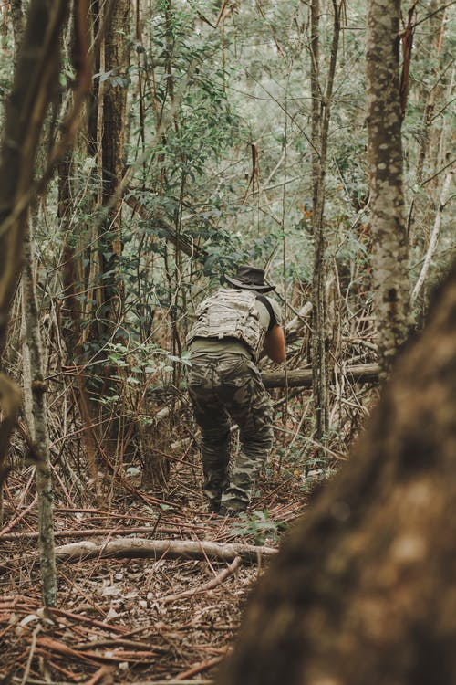 Man in Green and Black Camouflage Jacket and Black Pants Standing on Brown Tree Log during