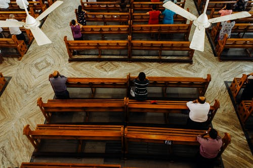 From above of calm people sitting on wooden benches and praying in cathedral