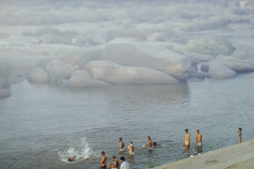 People swimming in sea with stones