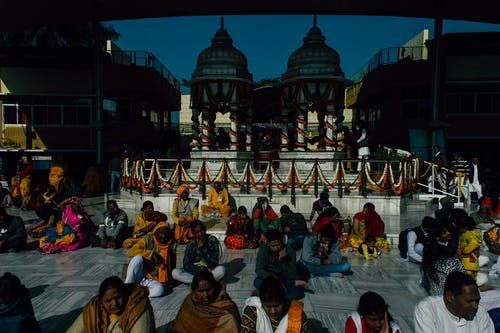 Group of Indian people in temple
