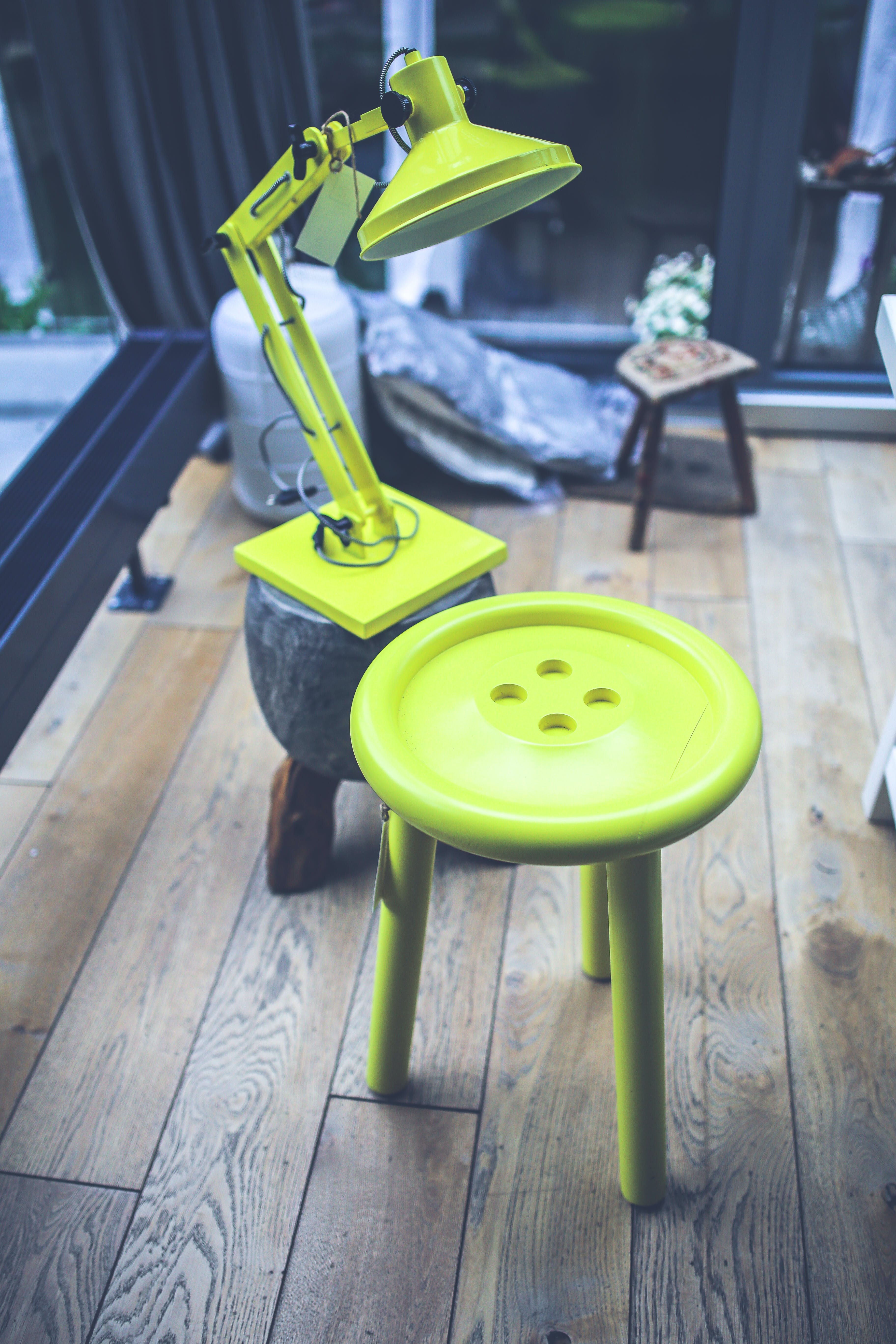 Yellow lamp and little table