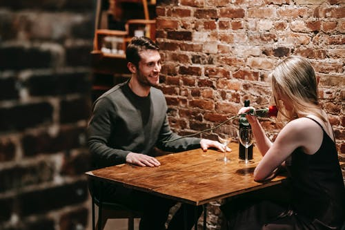 Couple enjoying romantic date in restaurant