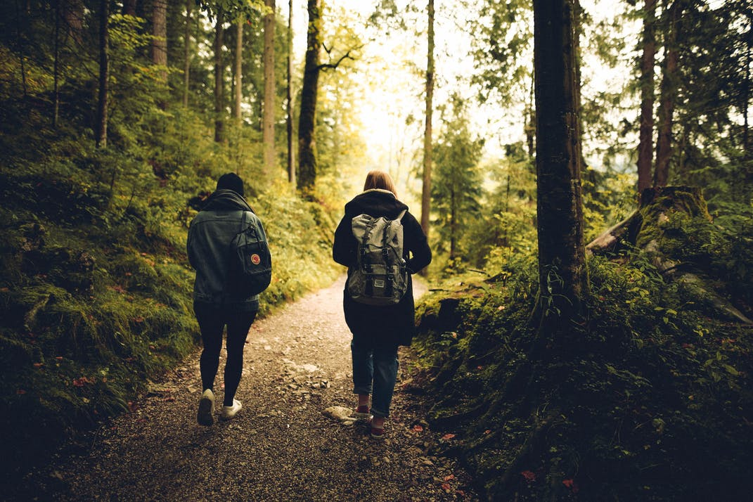 Hiking through the woods.
