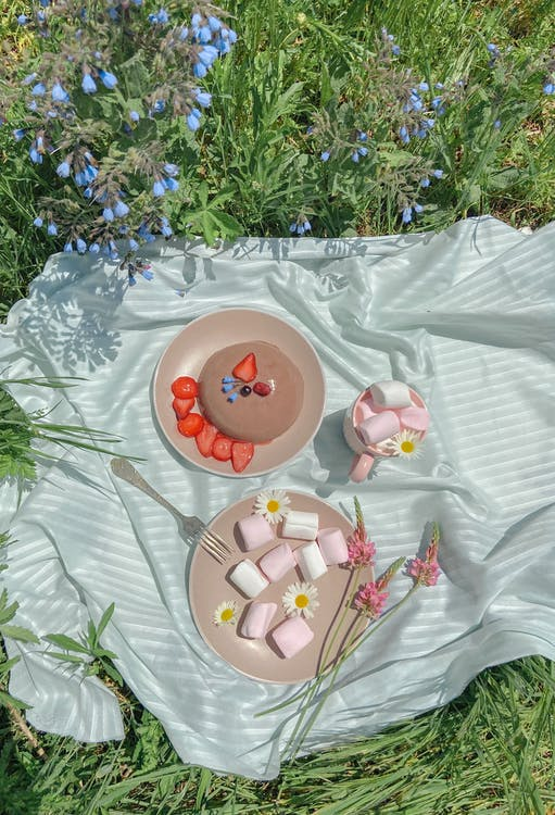 Top view composition in lawn of plates with marshmallows and berries on pancake on plaid for picnic