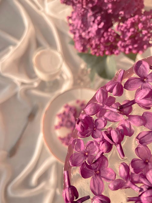 From above of blossoming flowers of lilac in glass vase and ice with petals