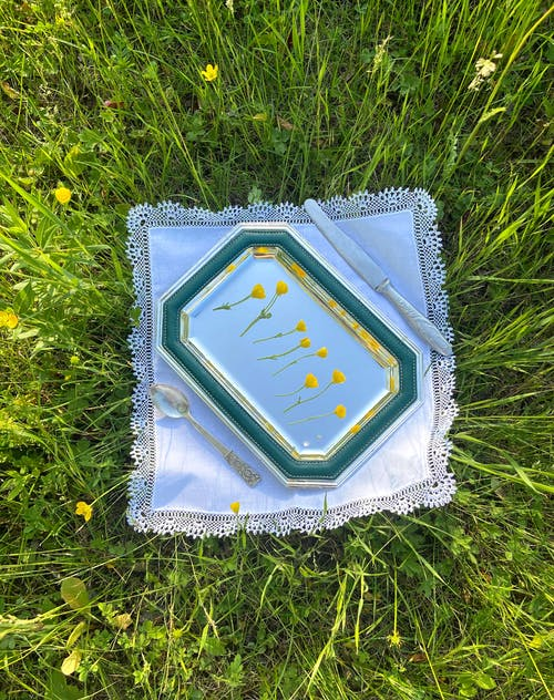 Top view of tray with flowers placed with spoon and knife on napkin in grassy meadow