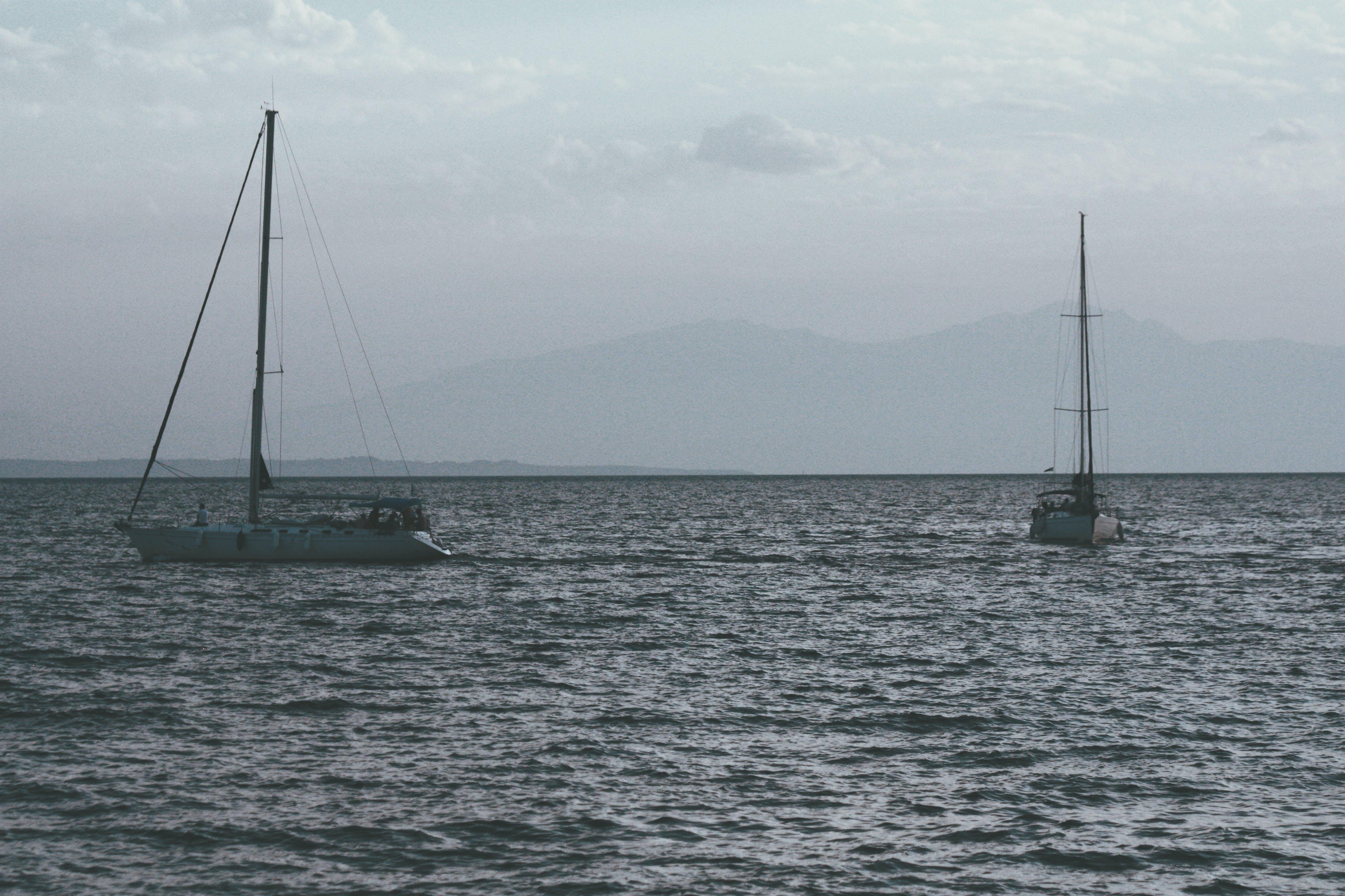 Free stock photo of boats, flags, sea, silencesea