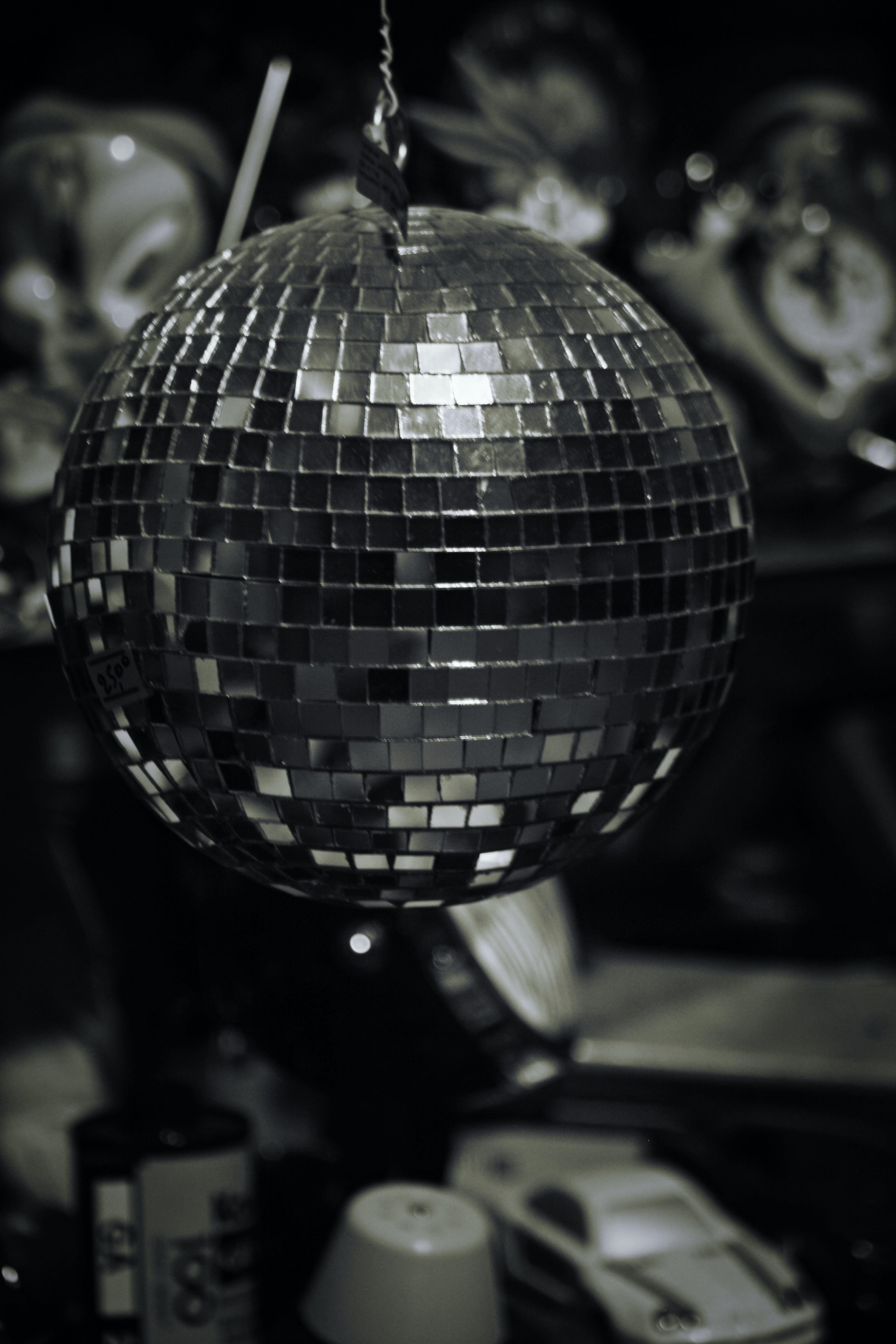 Free stock photo of black and white, car, discoball, documentary