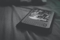 black-and-white, bed, technology