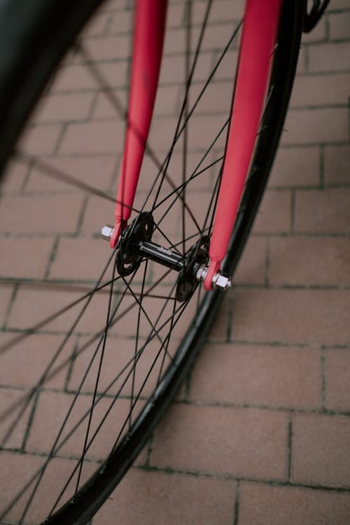 Red and Black Bicycle Wheel