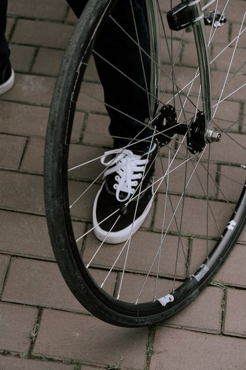 Black and White Bicycle Wheel