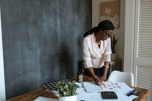 襯衫和白色的褲子,站在桌子前的白色鈕扣的女人