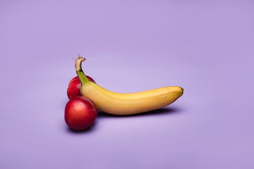 Yellow Banana Fruit and Red Apple