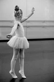 Grayscale Photography of Girl Doing Ballet