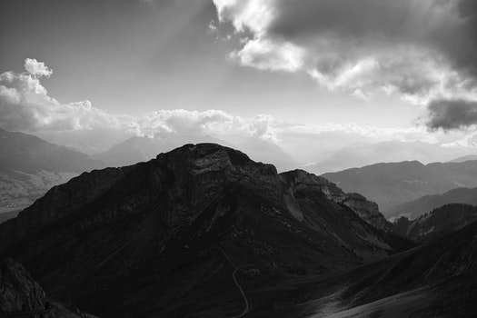 Free stock photo of black-and-white, landscape, nature, clouds