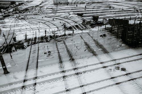 Railroad tracks in winter town