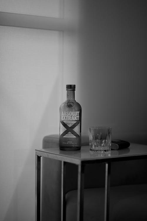 Bottle of vodka on table