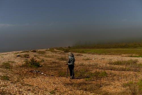 Person in Gray Jacket Walking on Green Grass Field