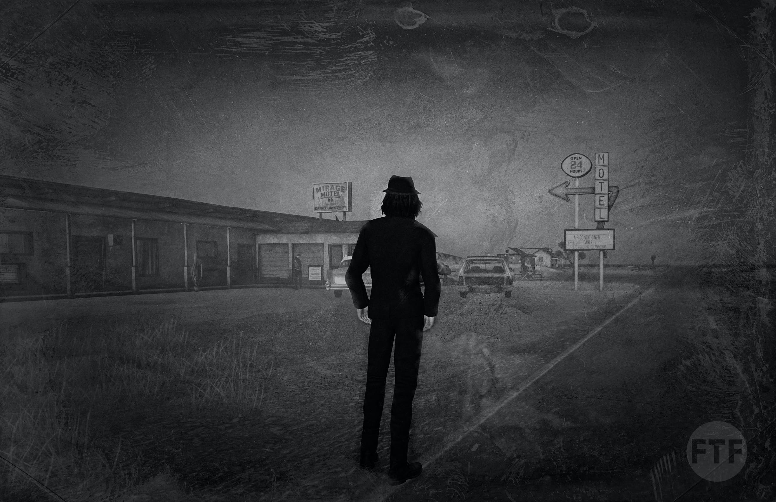black and white, man in black
