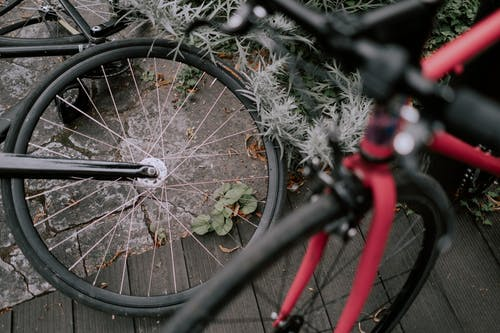 Black Bicycle Wheel Covered With Snow