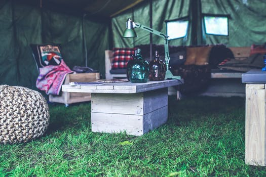 Interior of military tent / wooden table