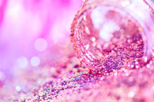Pink and Silver Glitter Textile