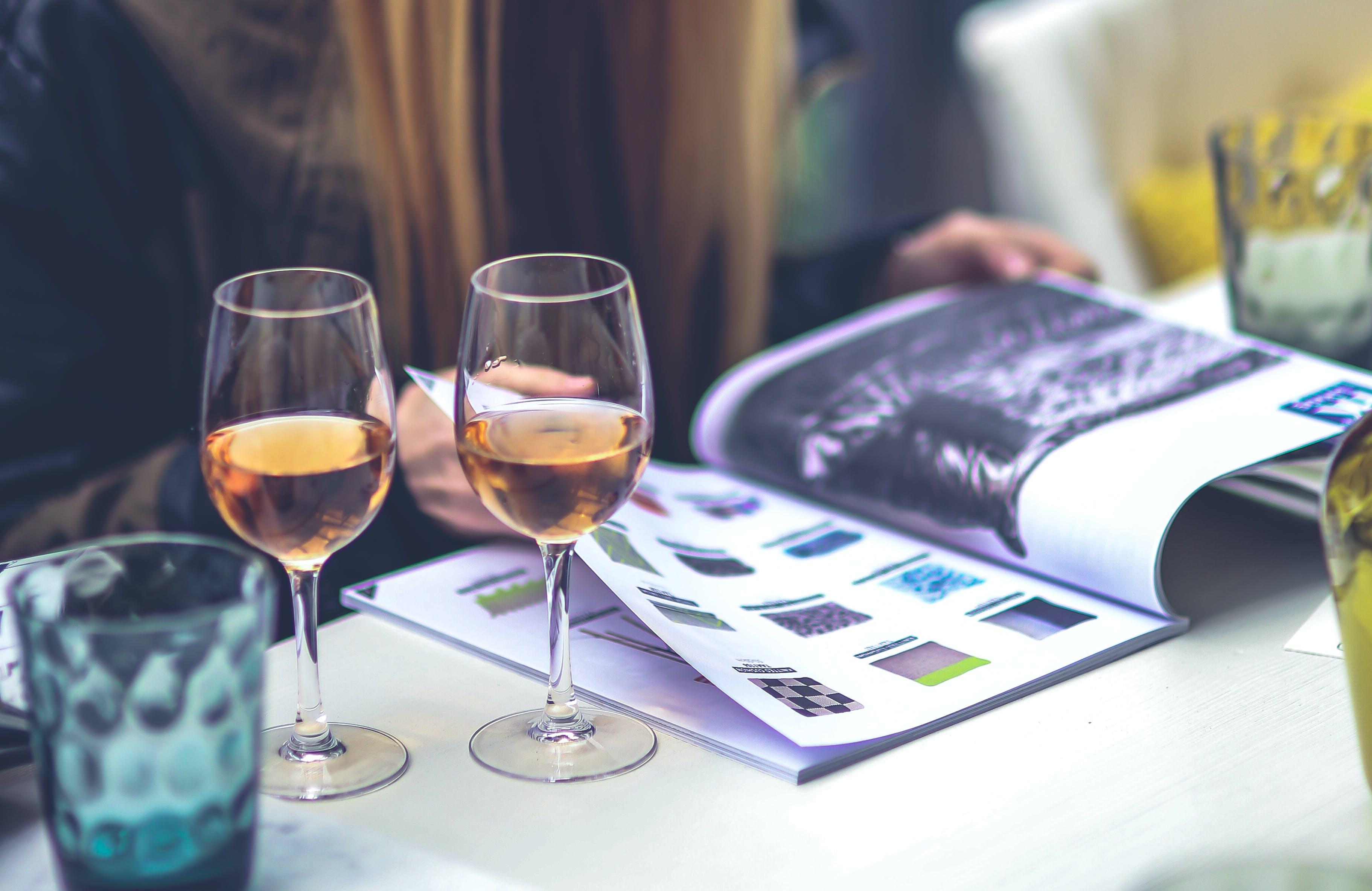 Girl, magazine, wine