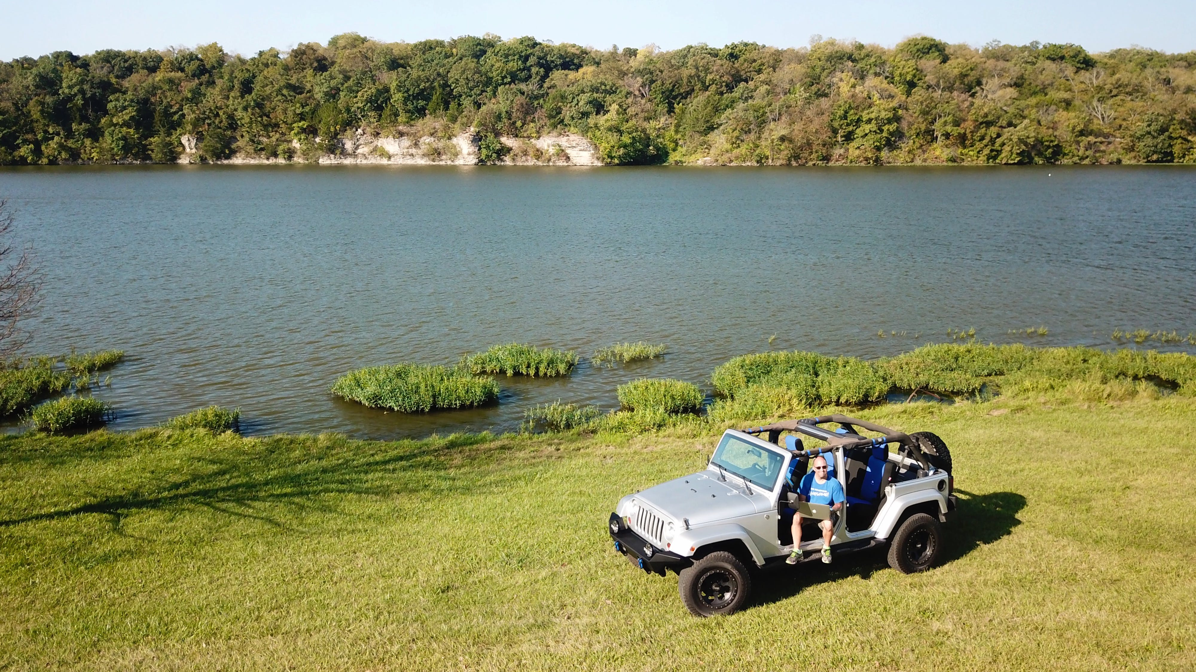 Free stock photo of lake, jeep, aerial view