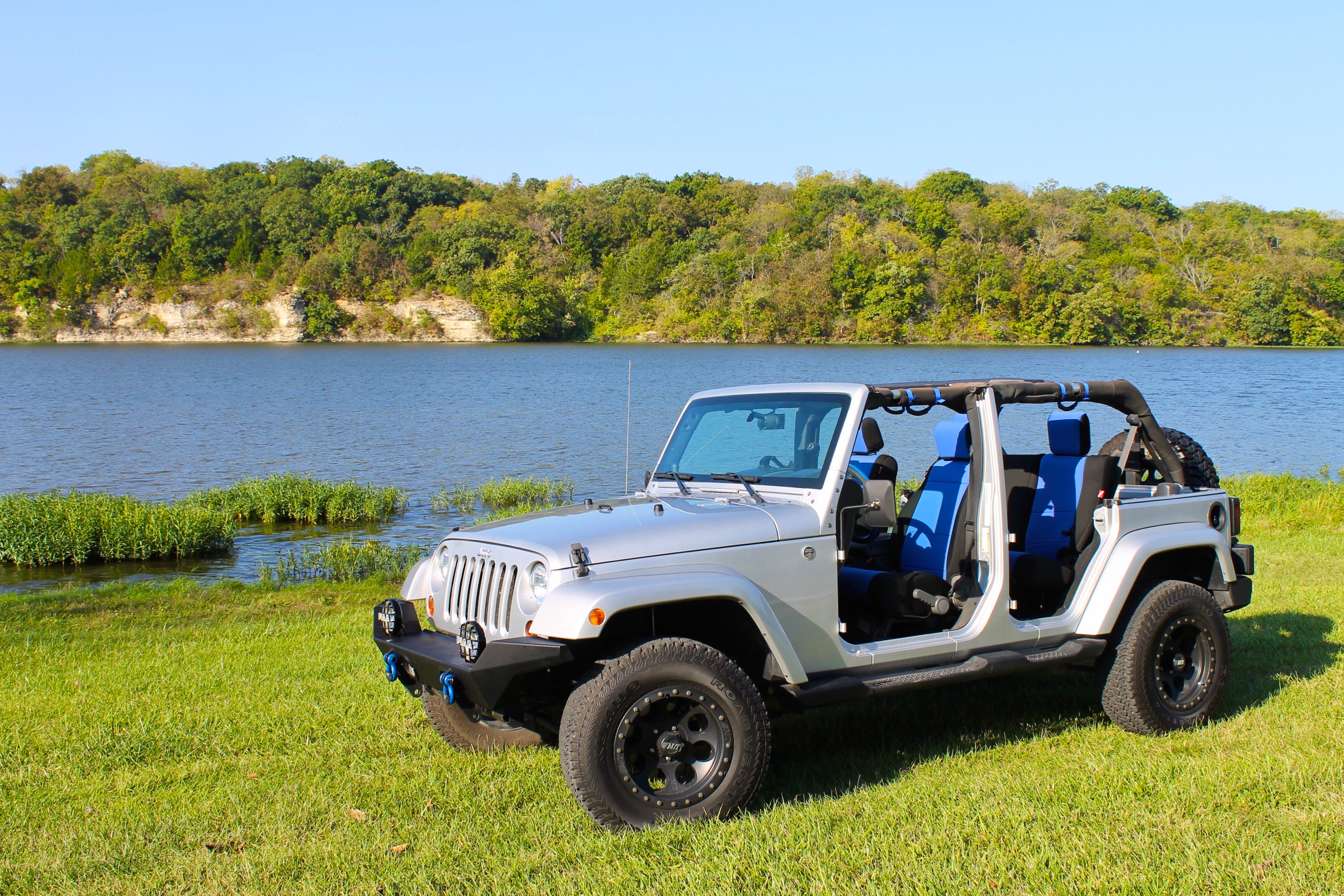 Free stock photo of water, blue, lake, jeep