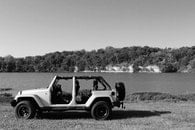 lake, black and white, jeep