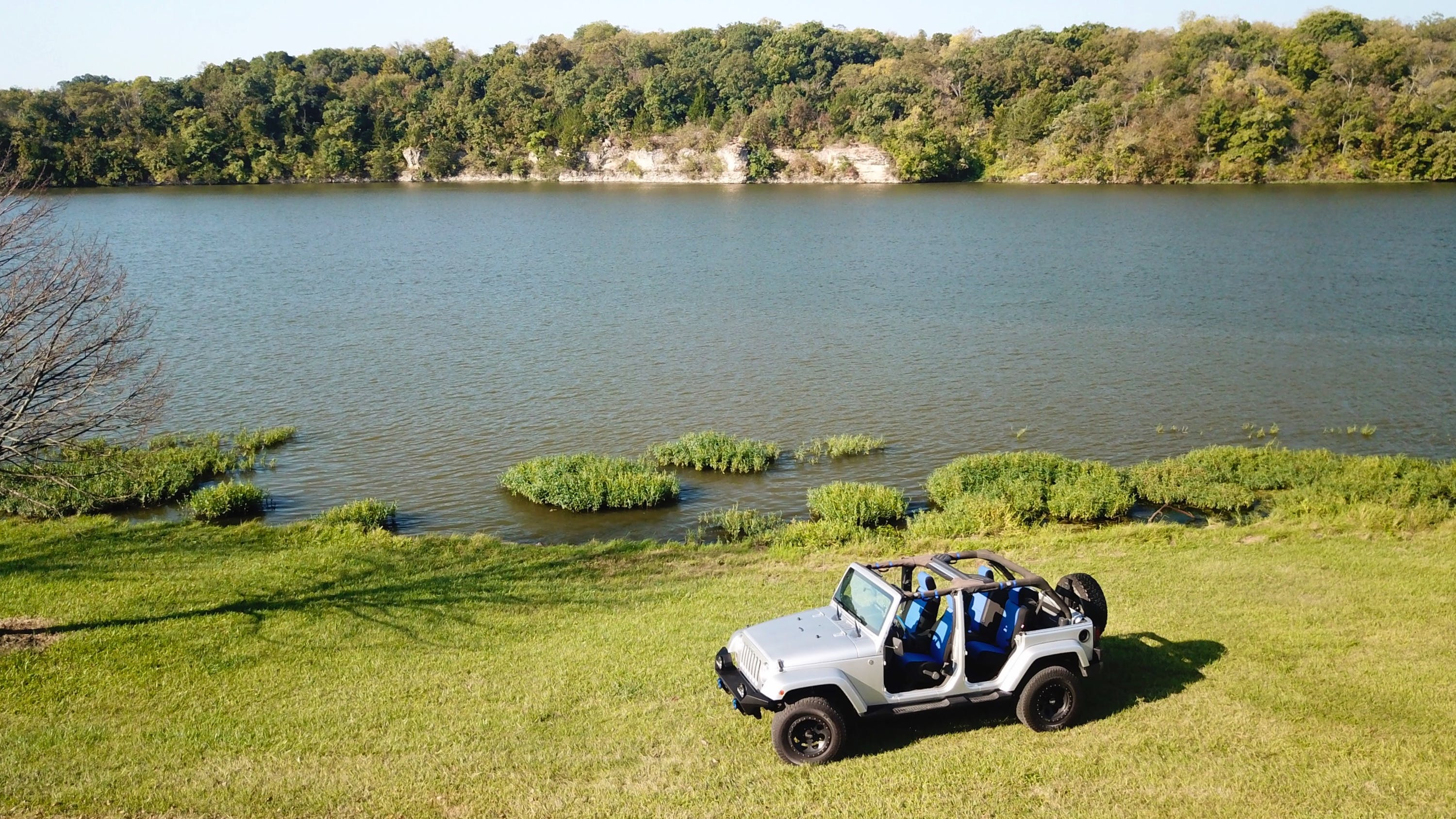 Free stock photo of lake, outdoors, jeep, aerial shot