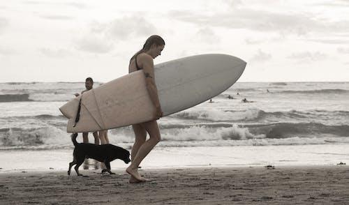 Woman in Black Bikini Holding White Surfboard on Beach