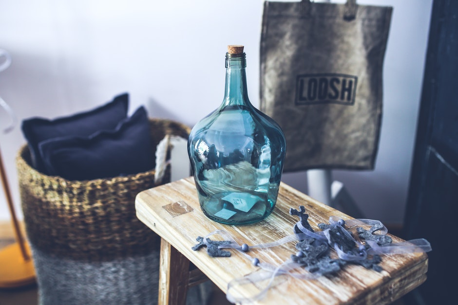 Blue carafe on the stool