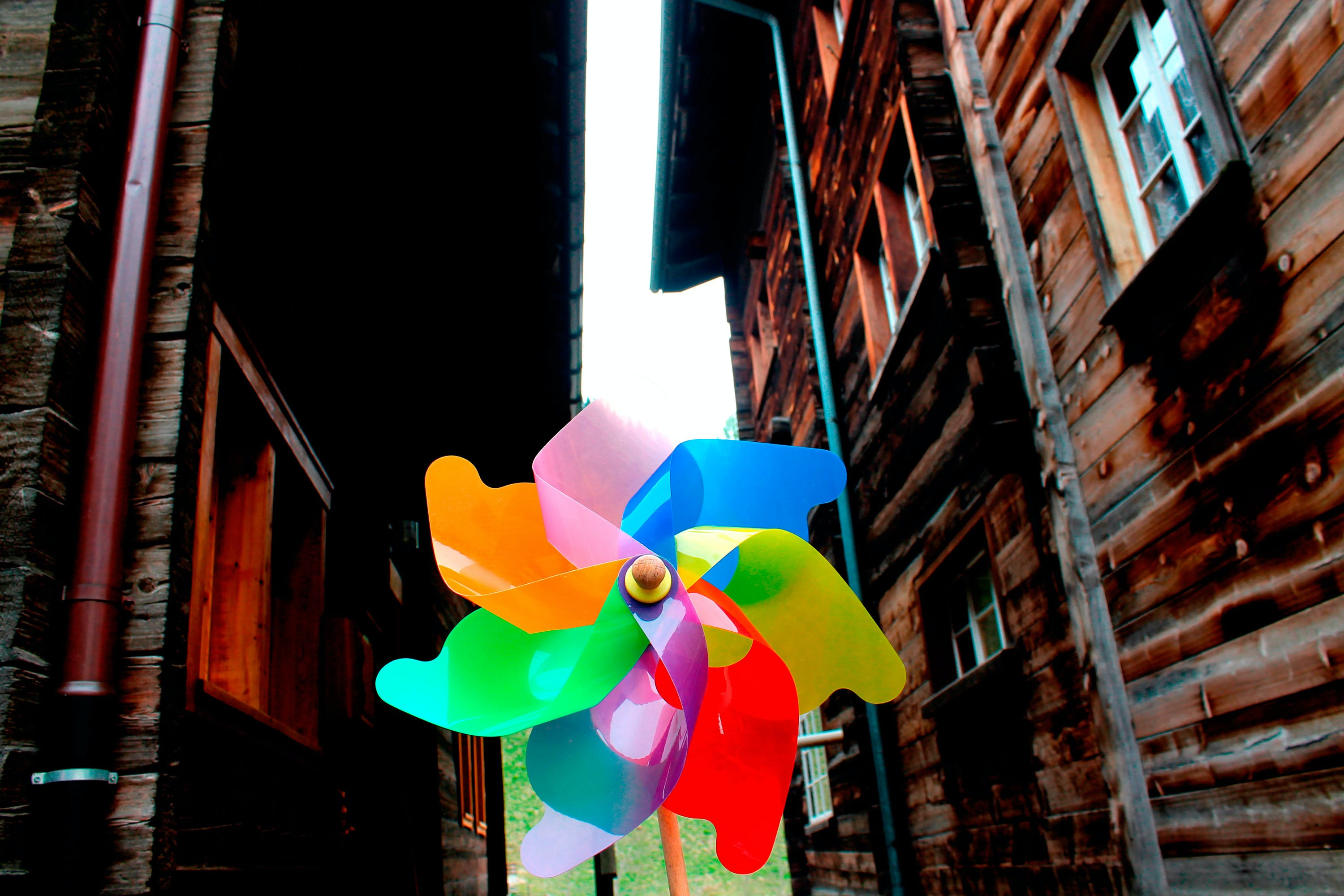 Yellow, Pink, Blue, and Red Pinwheel