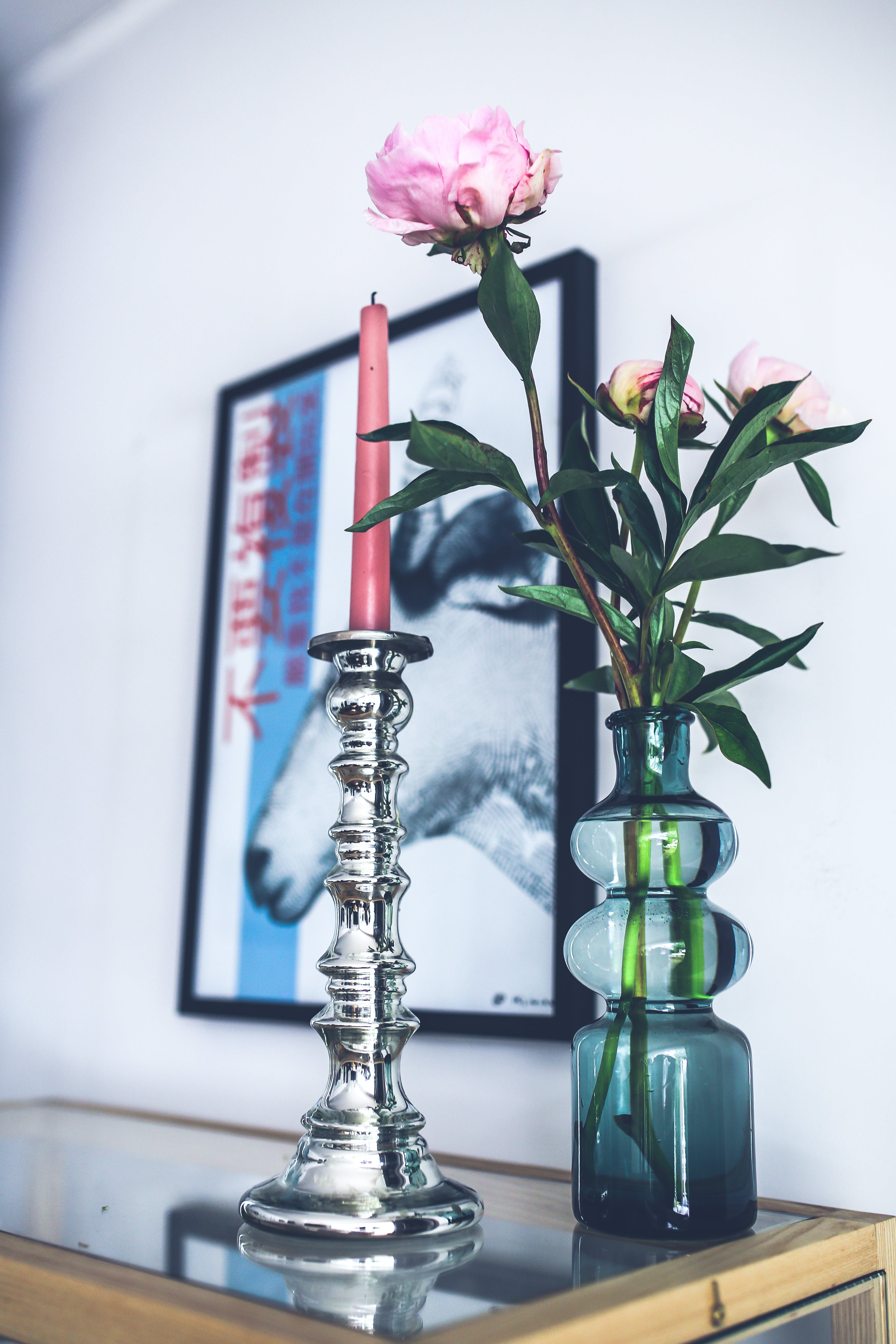 Silver candlestick & pink peonies