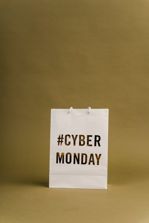 Photo Of Paper Bag With Cyber Monday Sign