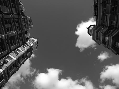 Základová fotografie zdarma na téma apartmány, architektura, budovy, černobílý