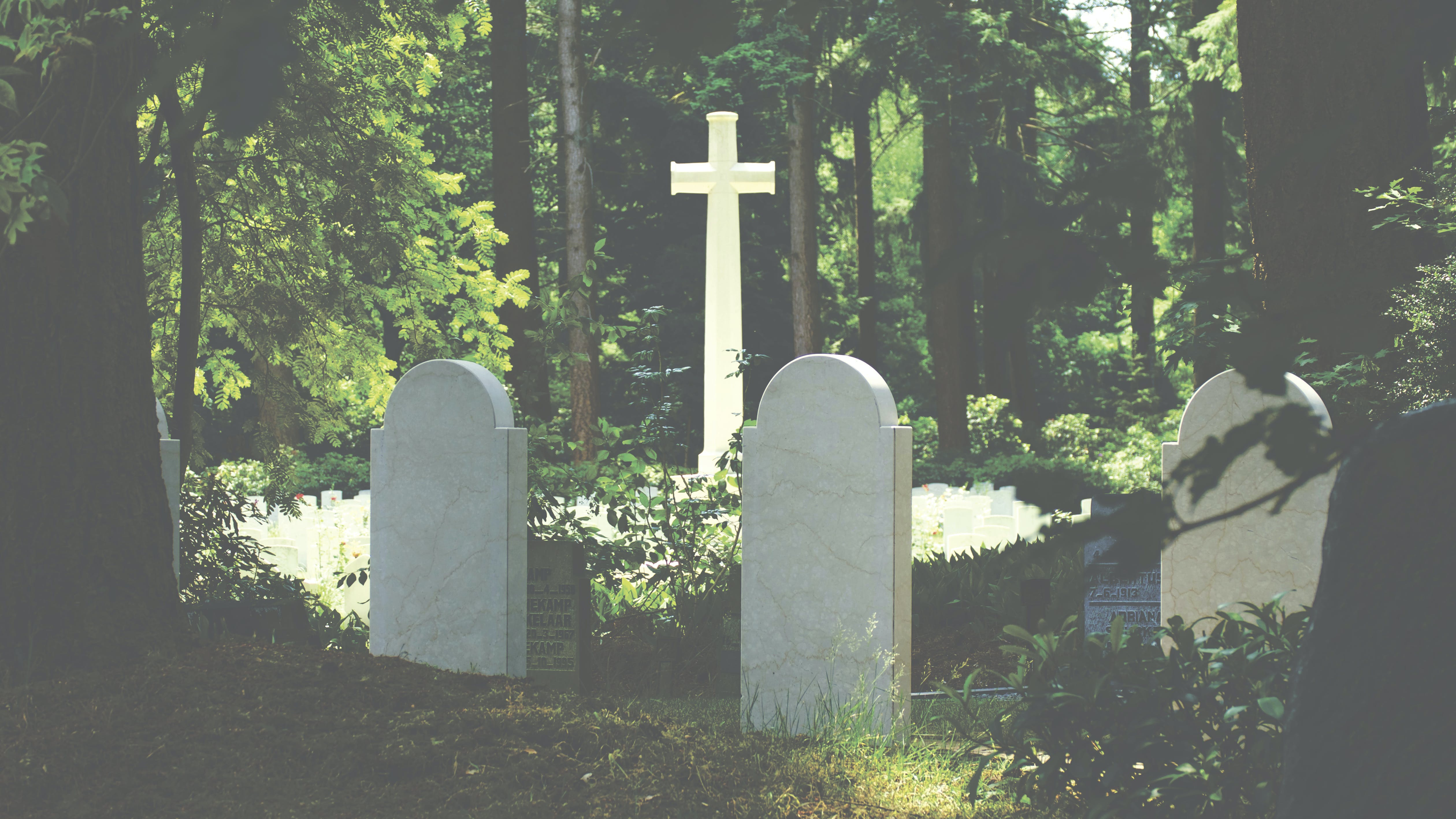 White Tombstone Near Cross Surrounded by Trees