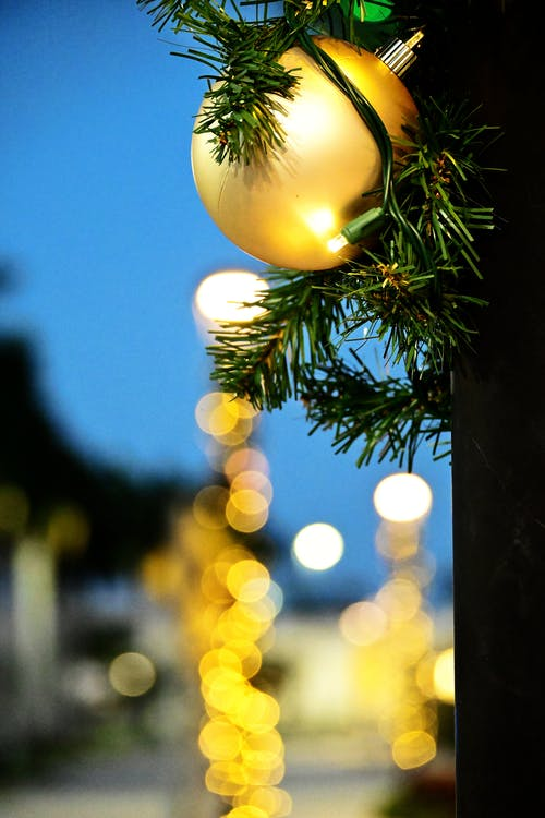 Close Up Shot of a Christmas Ball