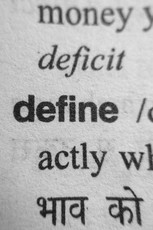 Word define in bold in lexical dictionary page showing correct spelling of words