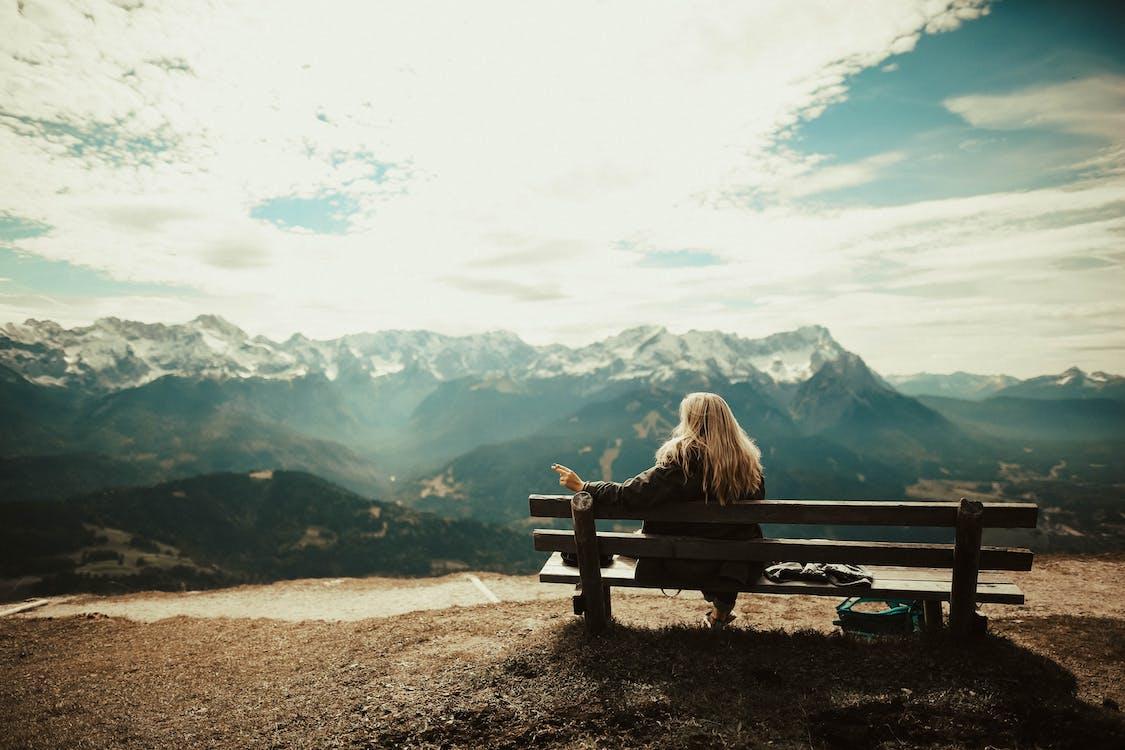 bänk, bergen, blond
