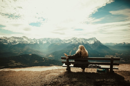 Free stock photo of snow, bench, landscape, mountains