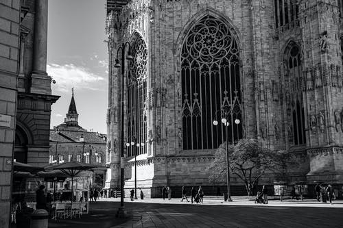Exterior of Gothic medieval cathedral in city street