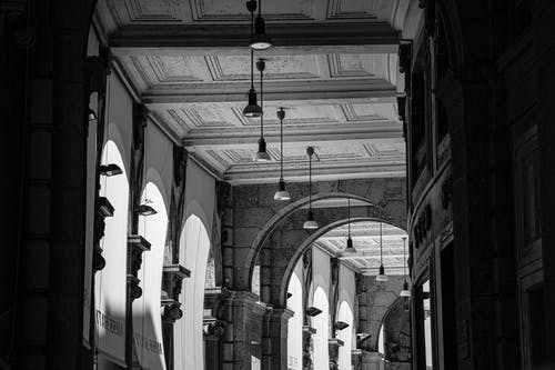 Old building hall with arched passages