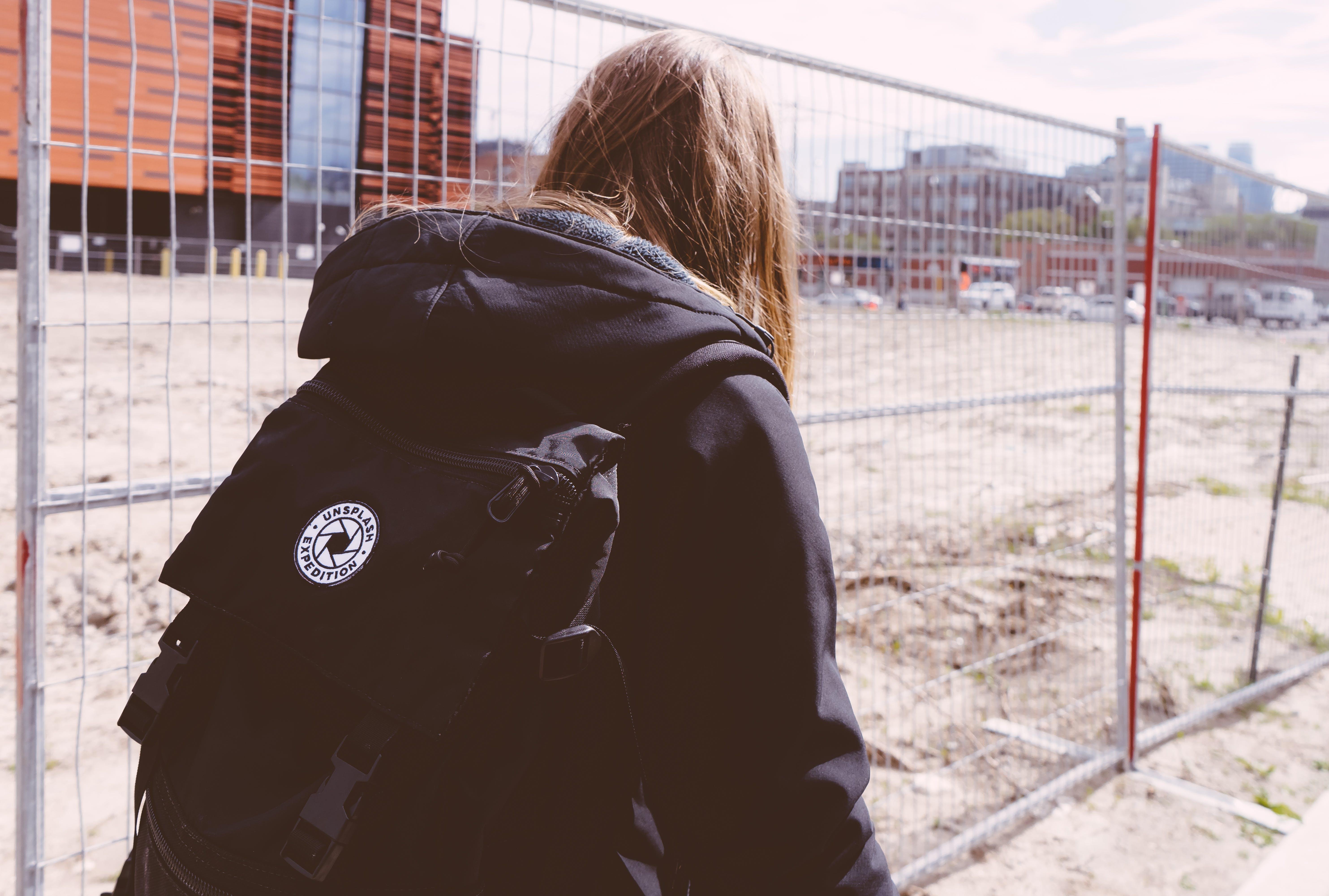 backpack, buildings, cars