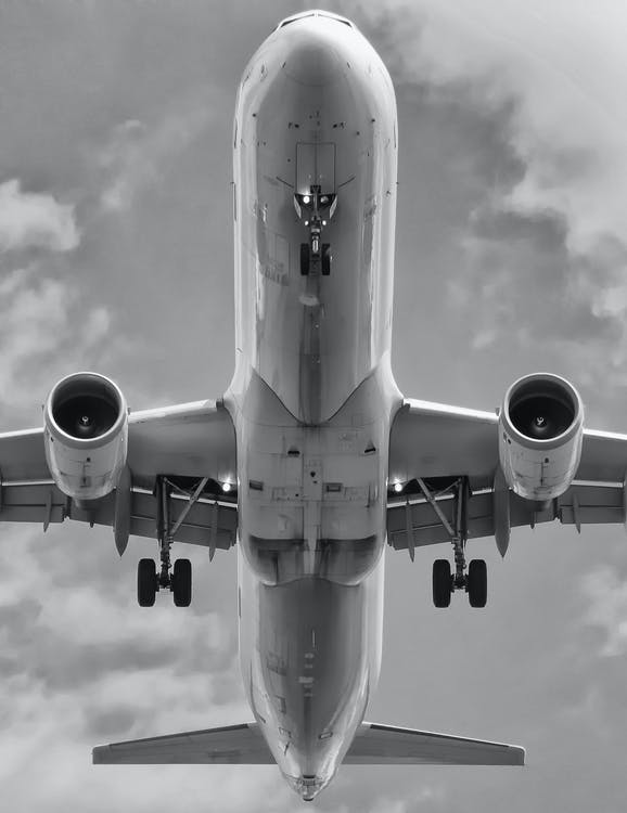 airplane, airport, black-and-white