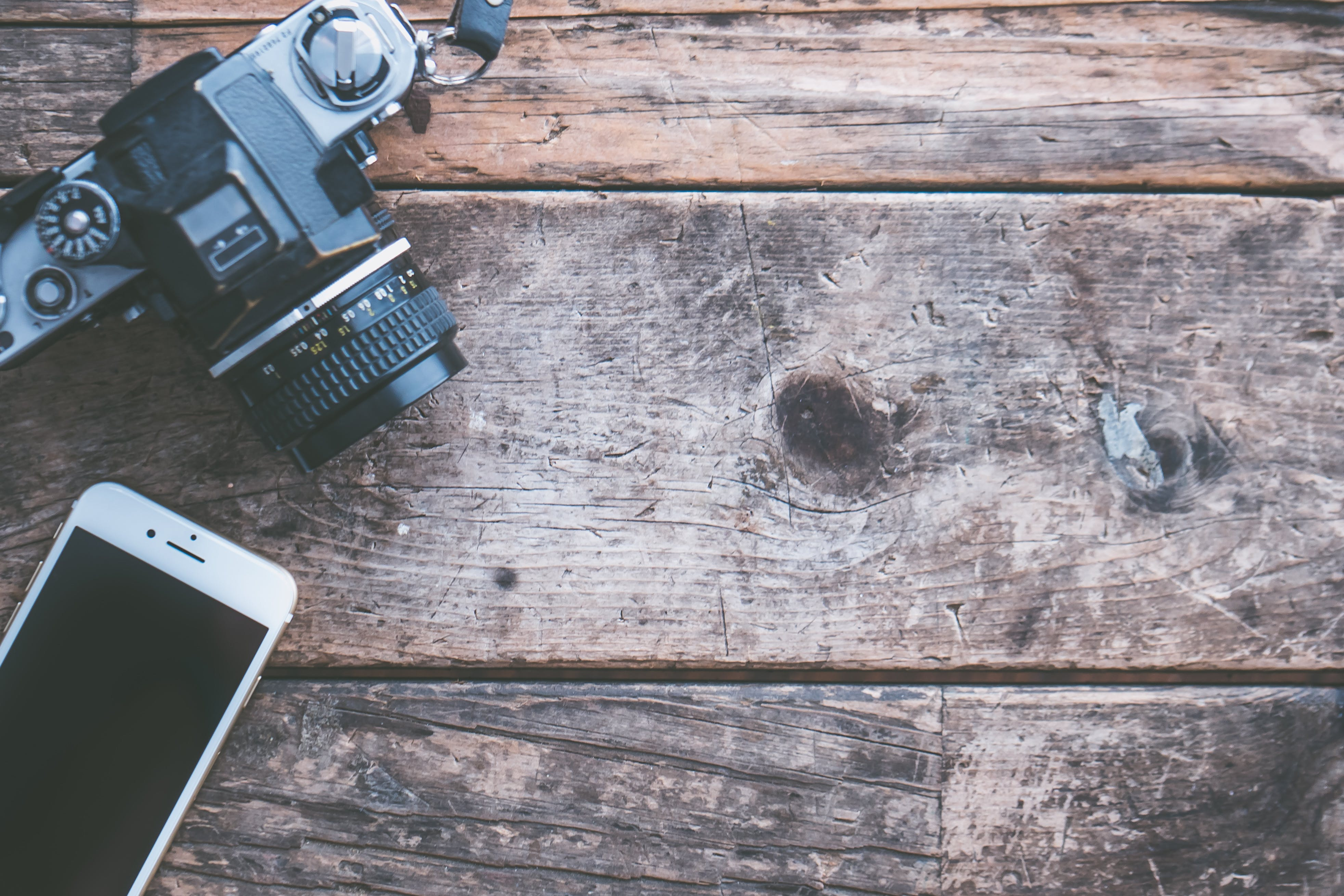 Free stock photo of camera, smartphone, technology, rustic