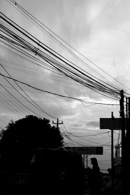 Free stock photo of cable wires, cloudy day, cloudy skies